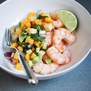 Shrimp and Quinoa With Mango-Avocado Salsa.