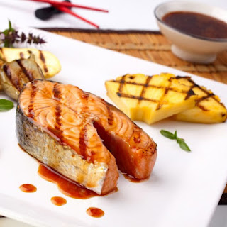 Grilled Honey Glazed Salmon with Grilled Pineapple