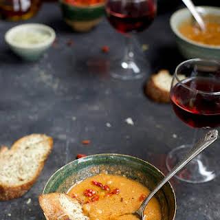 Sun-dried Tomato Pesto White Bean Soup with Asiago Crostini.