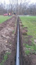 """Photo: De hoofdleiding van de drainage voert richting sloot langs """"oude A9"""""""