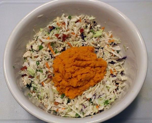 Ginger dressing on chicken salad.