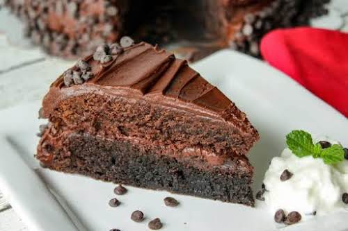 """Dark & Milk Chocolate Brownie Layer Cake """"This cake is chewy and..."""