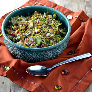 Mustard-Maple Brussels Sprouts with Candied Pepitas and Pomegranate Seeds