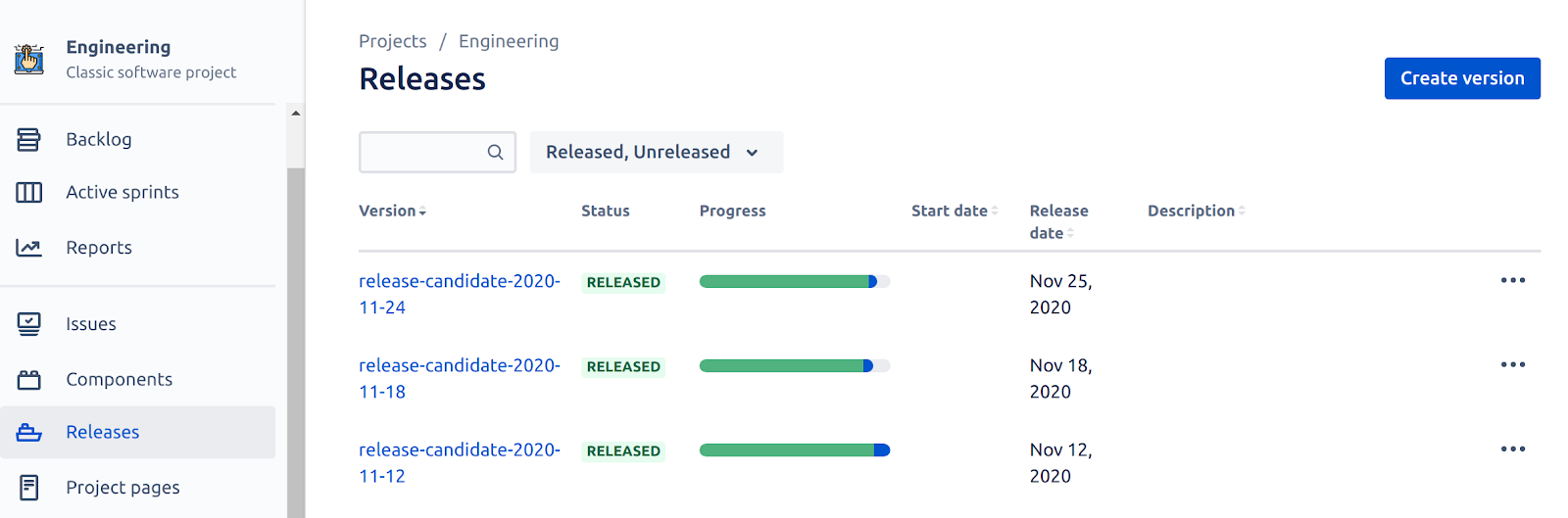 Jira's Release Page