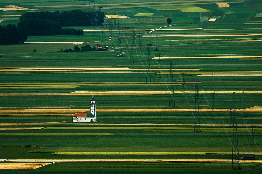 The new reality  by Rafael Kos - Landscapes Prairies, Meadows & Fields ( church, fields )