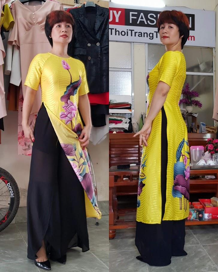 mẫu Áo dài Cách tân hoa sen mới nhất 2019 thời trang thuỷ sài gòn