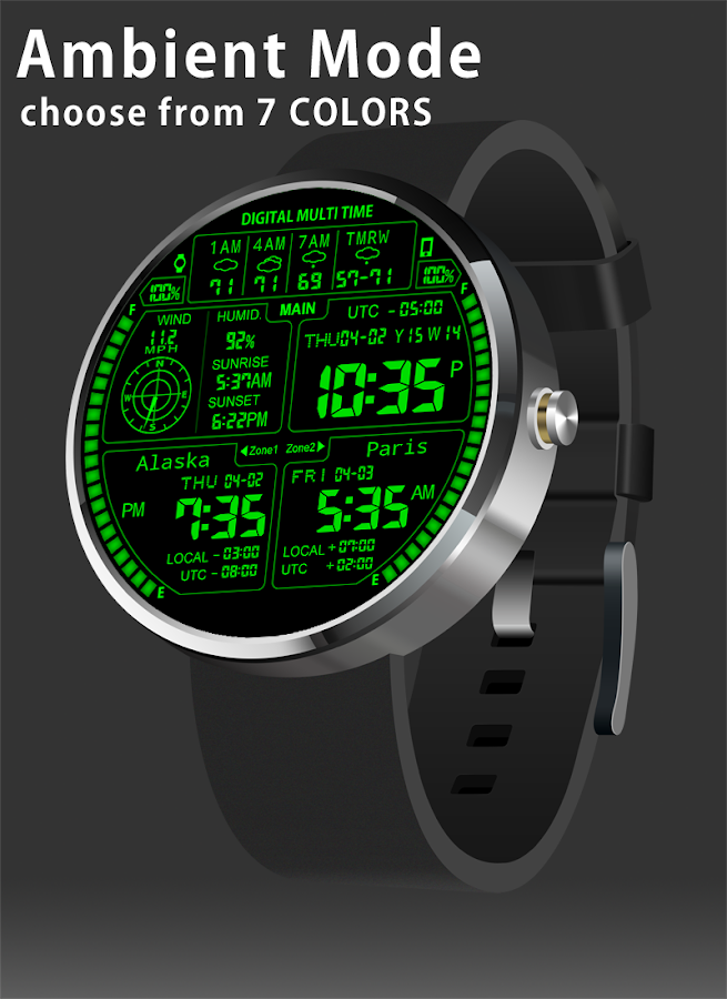 F08 3TimeZoneFace for Moto 360- screenshot