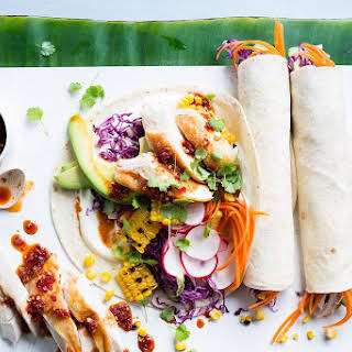 Portuguese Chicken Wraps With Rainbow Slaw.