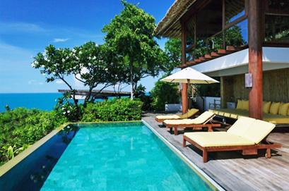 Pool facing the Indian Ocean at Six Senses Samui Hotel