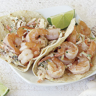Shrimp Tacos with Spicy Cabbage Slaw.