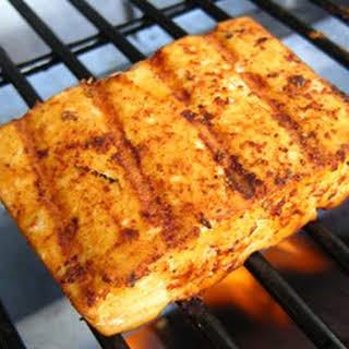 Grilled Tofu With Blackened Seasoning.