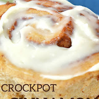 Crockpot Cinnamon Rolls with Cream Cheese Frosting.