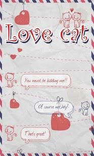 GO SMS LOVE CAT THEME - náhled