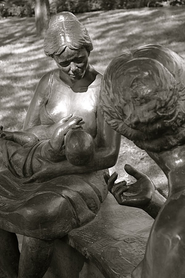 Sharing New Beginnings by Robert Ratcliffe - Black & White Objects & Still Life ( child, peaceful, mothers, joy, statues, begining, newborn,  )