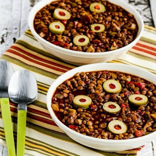 Picadillo Lentil Stew with Peppers and Green Olives.