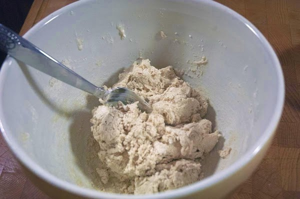 Add the cream, and mix with a fork.