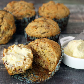 Carrot Muffins With Walnuts and Cream Cheese Spread.