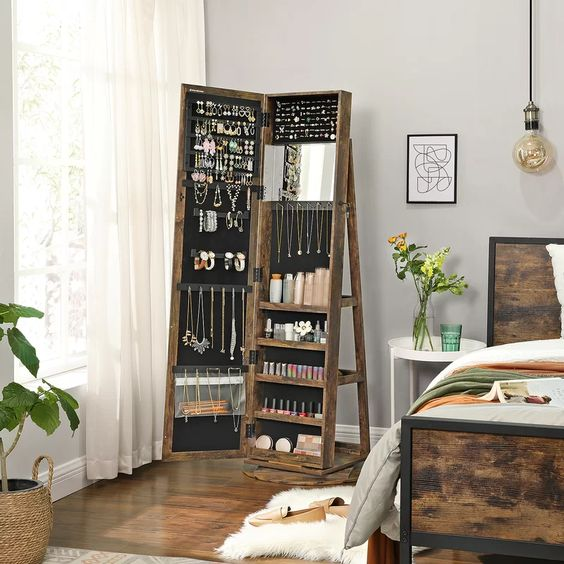 Bedroom Storage Ideas with A Jewelry Cabinet
