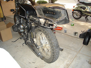 Photo: Saddlebags and chewed rear fender removed.
