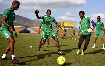 Photo: Leone Stars warming up. [Training Camp ahead of Leone Stars v Swaziland May 2014 (Pic: Darren McKinstry)]