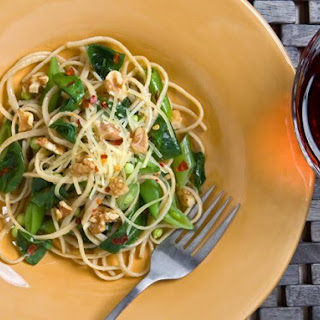 Spring Linguine with Spinach, Peas and Walnuts.