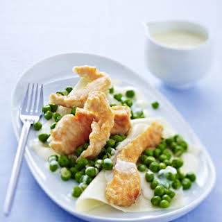Salmon Tempura with Peas, Pasta and Lime Sauce.
