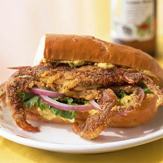 Cajun-Spiced Soft-Shell Crab Sandwich with Yellow Pepper and Caper Aioli.