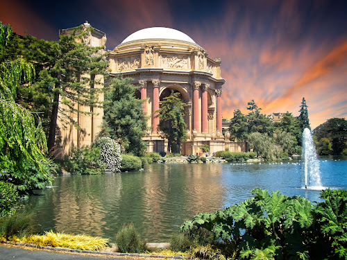 The Palace of Fine arts at sunset by Sandy Scott - Buildings & Architecture Public & Historical ( roman architecture, pond, composition, greek architecture, old buildings, landmarks, building, landscape, san francisco, architecture )