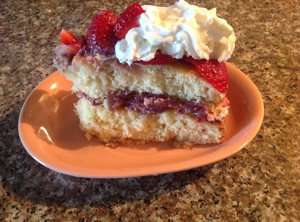 Slice strawberries thinly. When cake is cool. Place sliced strawberries between layers. No cream...