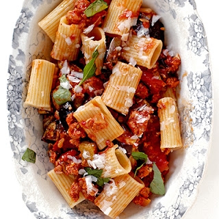 Rigatoni with Eggplant, Tomatoes, and Spicy Sausage