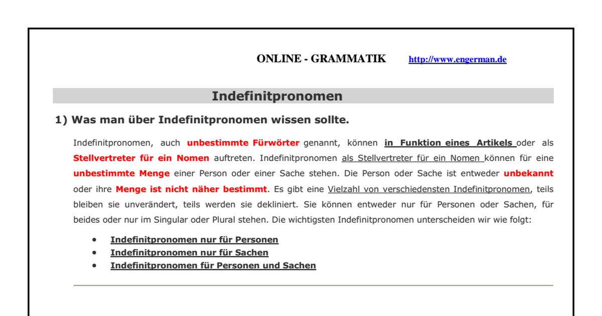 Großartig Indefinitpronomen Arbeitsblatt Ideen - Mathe Arbeitsblatt ...