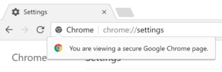 You are viewing a secure Google Chrome page dialog box