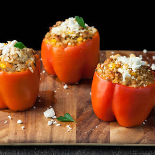 Stuffed Red Bell Peppers with Ground Chicken.