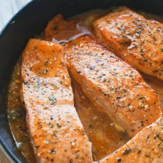 Citrus and Thyme glazed salmon.