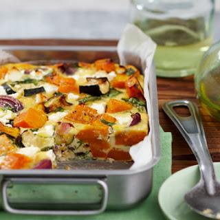 Roasted Pumpkin, Spinach And Feta Slice.