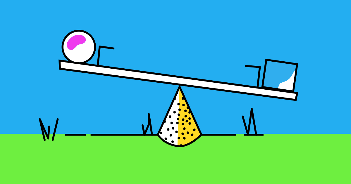 An illustrated teeter-totter with a circle on one end and a square on the other with a cone as the pivot point. Representational of events versus tags in Drip.