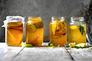Kombucha comes in many different flavours including, from left, plain, apple, pineapple, and lemon and bay.