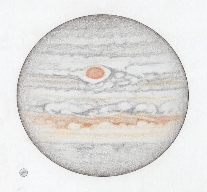 Photo: Dessin du 7 mai 2018, excellent seeing. (haut du dessin à 1h43 HL, bas à 2h53 HL). Satellite à gauche : Ganymède. T406 à 500X en bino + ADC.