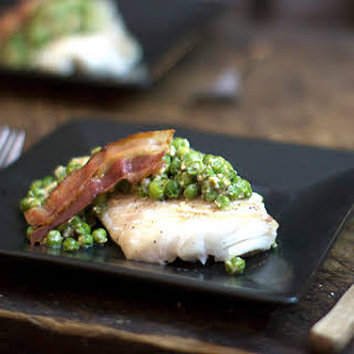 Baked Cod with Bacon & Pea Cream Sauce.