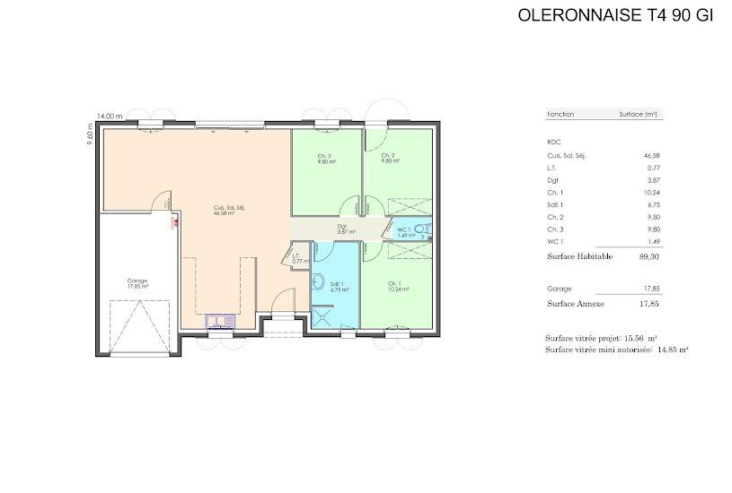 Vente Terrain + Maison - Terrain : 489m² - Maison : 90m² à Beaugeay (17620)