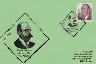 Photo: Matasellos del 145 aniversario de Emilio Indalecio Cotarelo y Mori en Vegadeo 2002