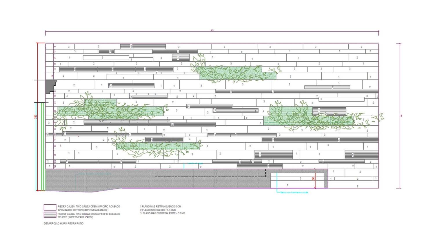 plano del diseño del jardín vertical en Granada