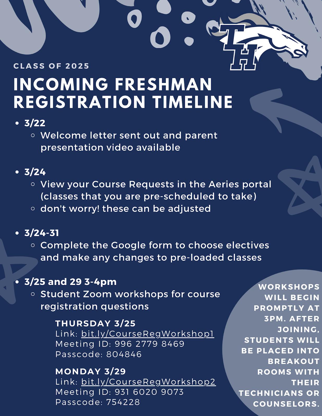 incoming freshman registration timeline