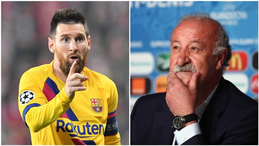 Lionel Messi y Vicente del Bosque.