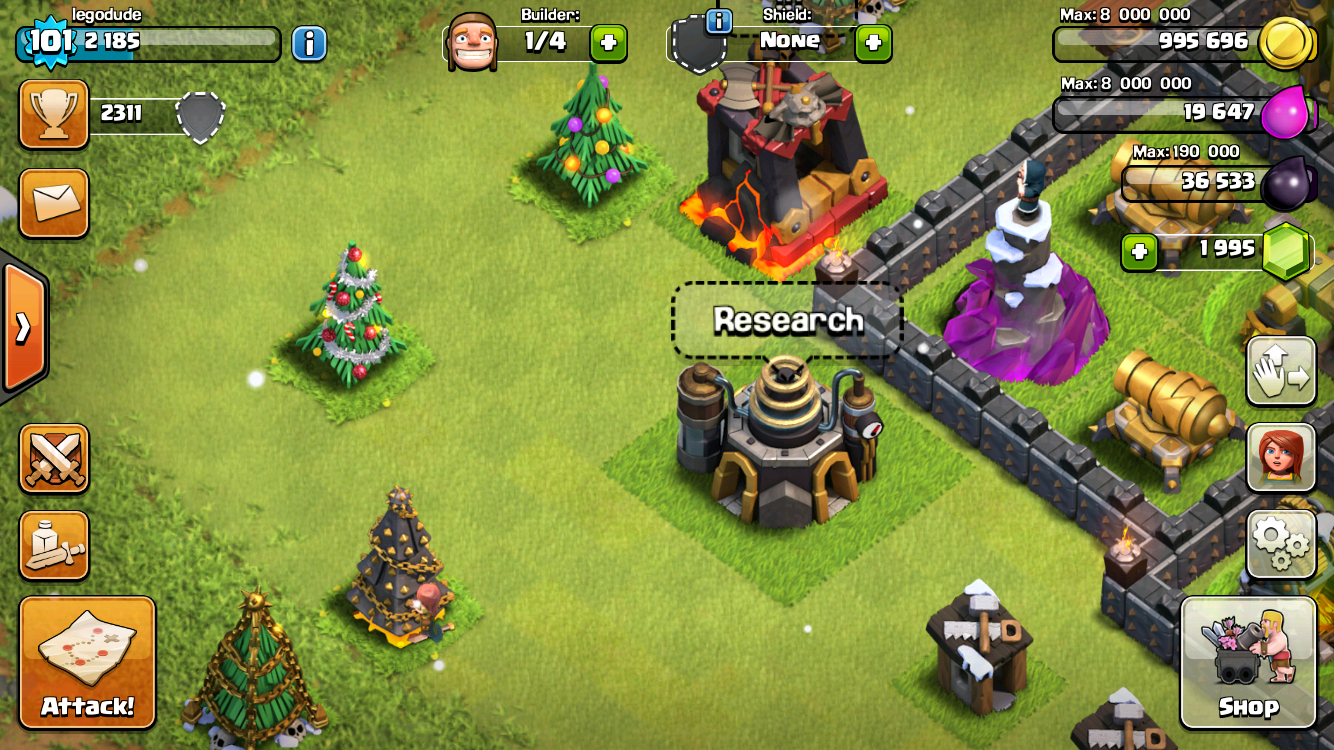 Screenshot of Clash of Clans showing four different types of Christmas trees collected over four years.