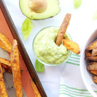 Baked Spicy Sweet Potato Wedges with an Avocado Aioli.