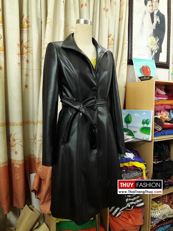 Áo khoác da nữ dáng dài thu đông V378 thời trang thủy