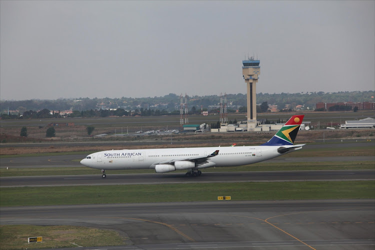 An SAA aircraft on the runway at OR Tambo International Airport. File Photo.