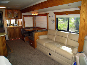 Photo: From cockpit: dinette and sofa slide.