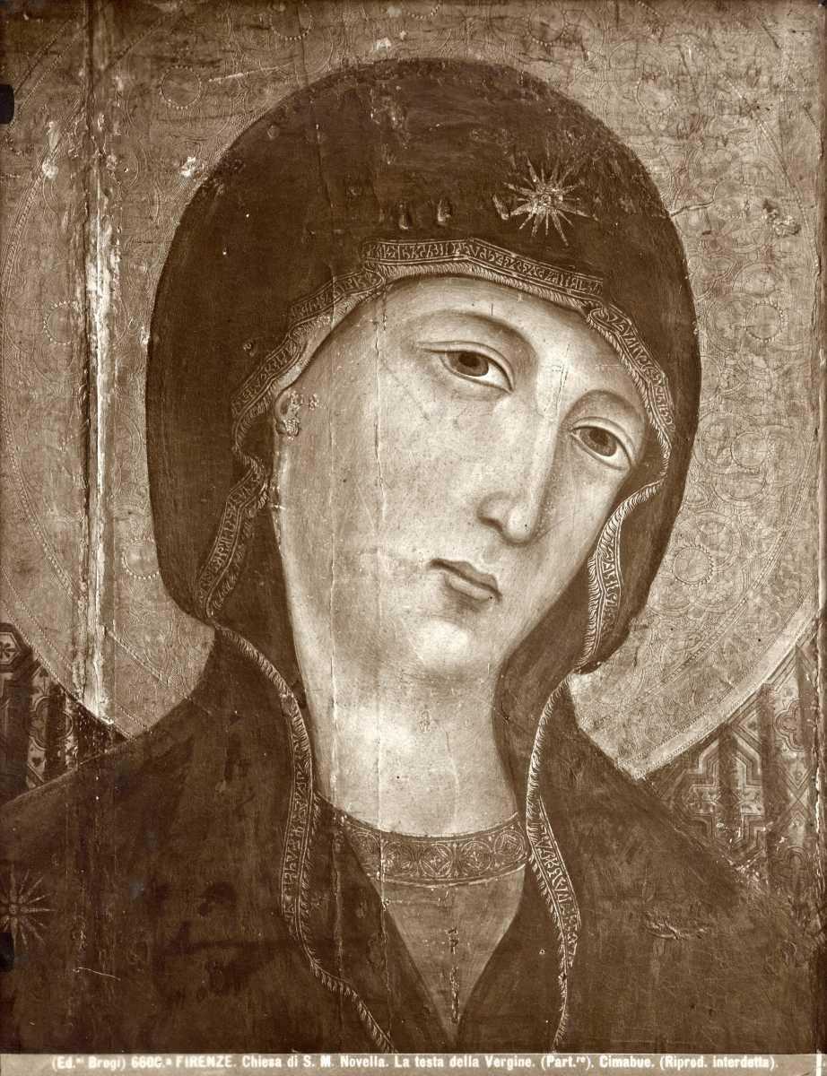 Brogi — Firenze. Chiesa di S. M. Novella. La testa della Vergine. (Part.re). Cimabue. — particolare Madonna, [Duccio di Buoninsegna, Madonna con Bambino in trono e angeli (Madonna Rucellai)